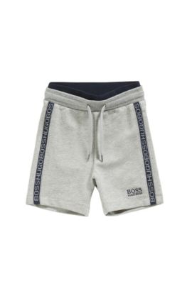 Newborns' tracksuit shorts in stretch cotton with a drawstring waistband: 'J04257', Light Grey