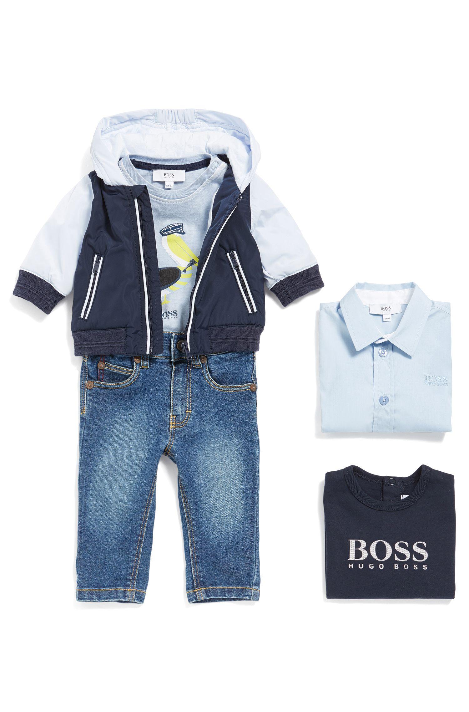 Jeans da neonato in cotone elasticizzato dal tipico stile a cinque tasche: 'J04264'