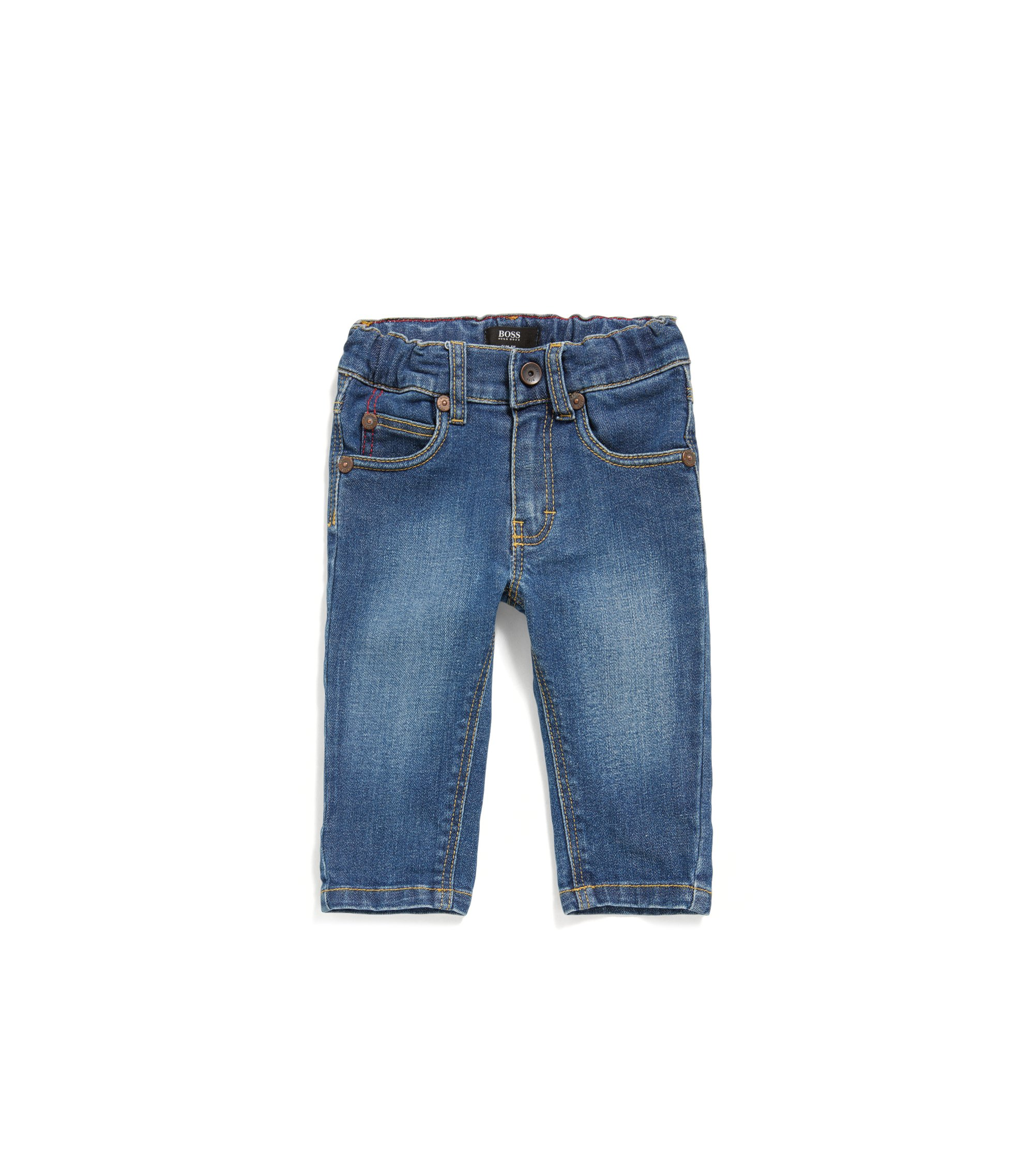 Newborns' jeans made from stretch cotton in 5-pocket style: 'J04264', Patterned
