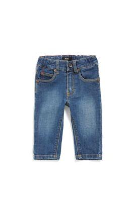 Jeans da neonato in cotone elasticizzato dal tipico stile a cinque tasche: 'J04264', A disegni