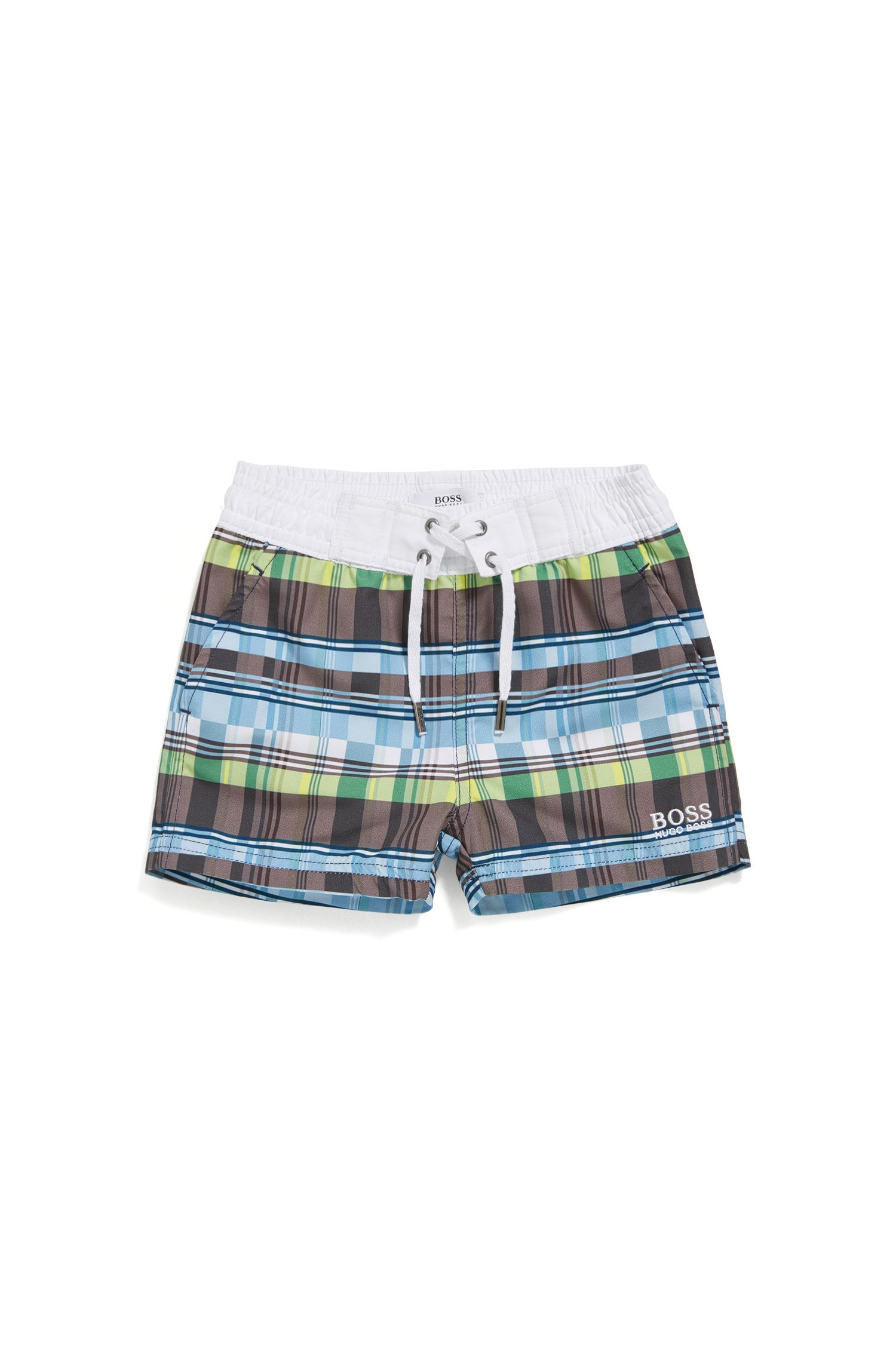 Newborn swim shorts in material blend with a check pattern: 'J02471'