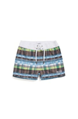 Newborn swim shorts in material blend with a check pattern: 'J02471', Patterned