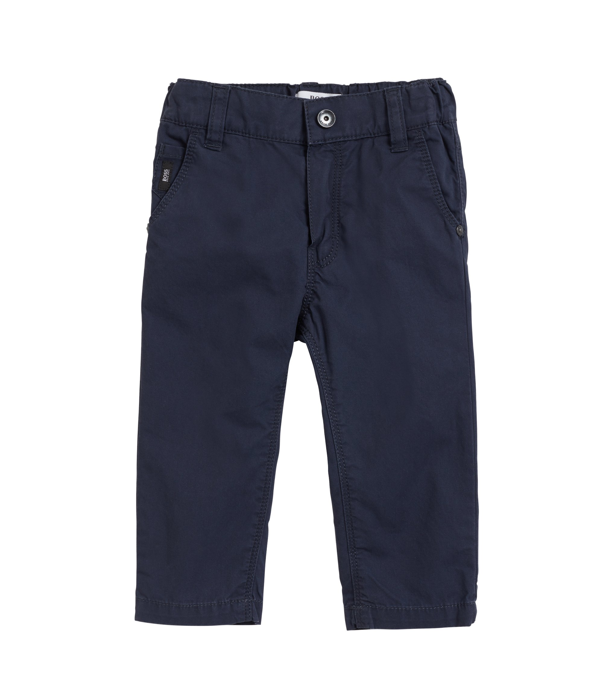 Kids' trousers in pure cotton twill, Dark Blue