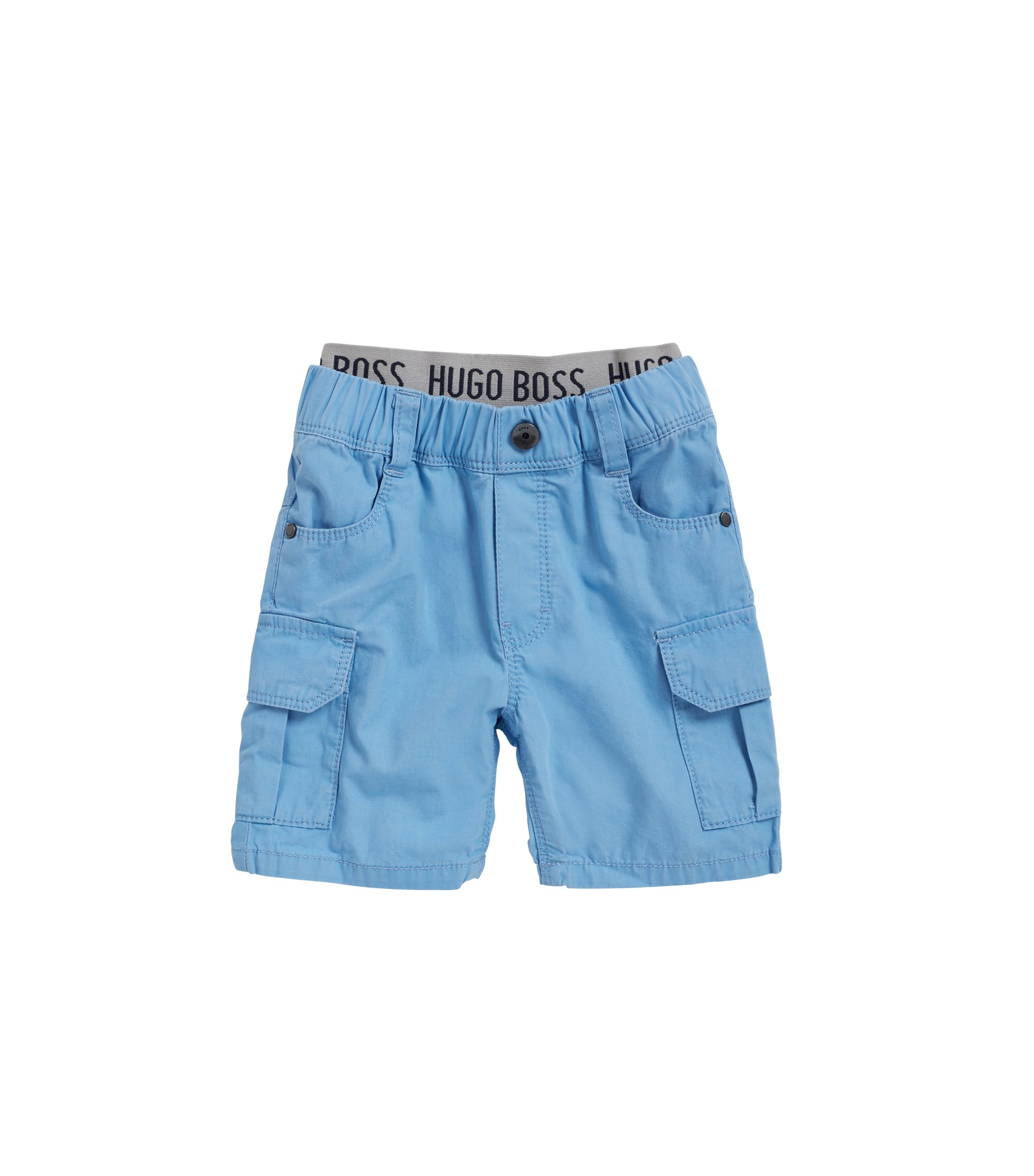 Kids' cotton Bermuda shorts with elastic waistband, Turquoise