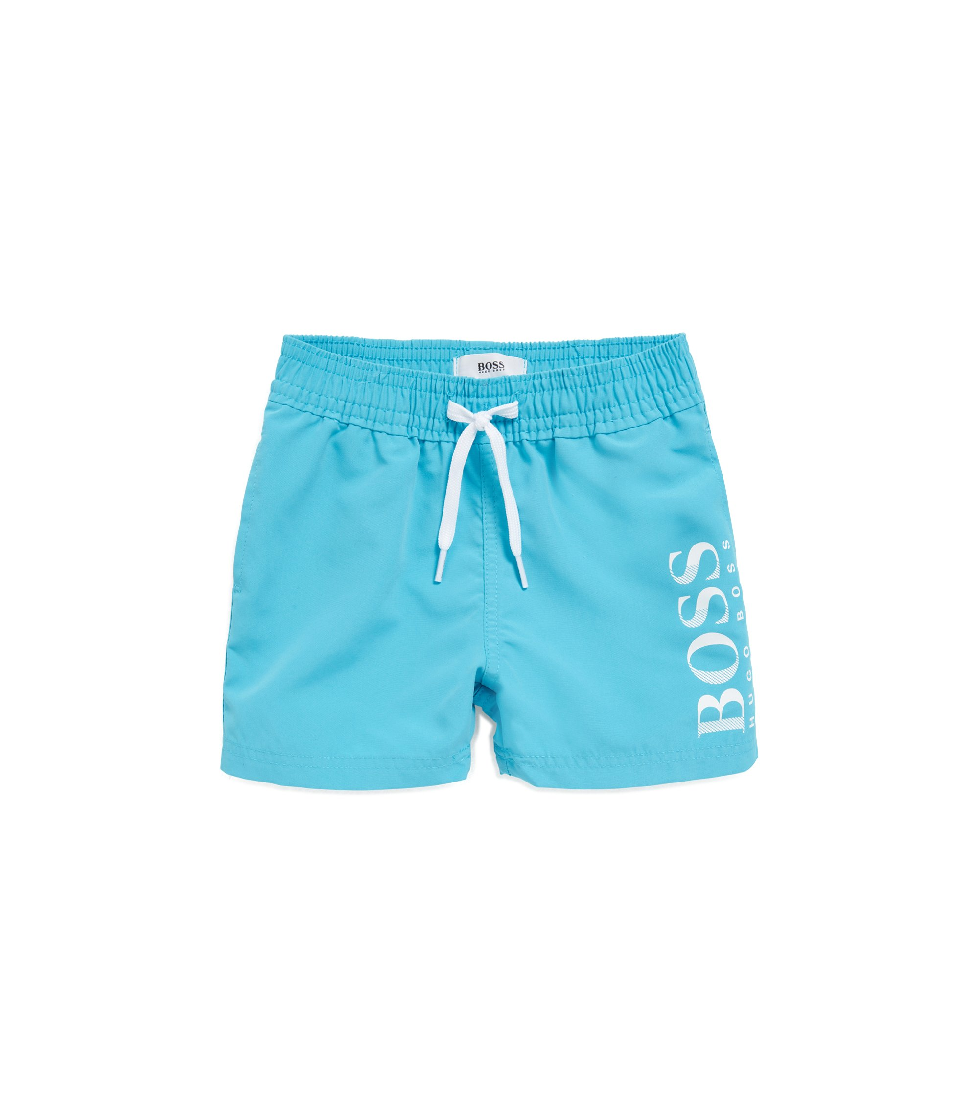 Kids' quick-dry swim shorts with logo print, Light Blue