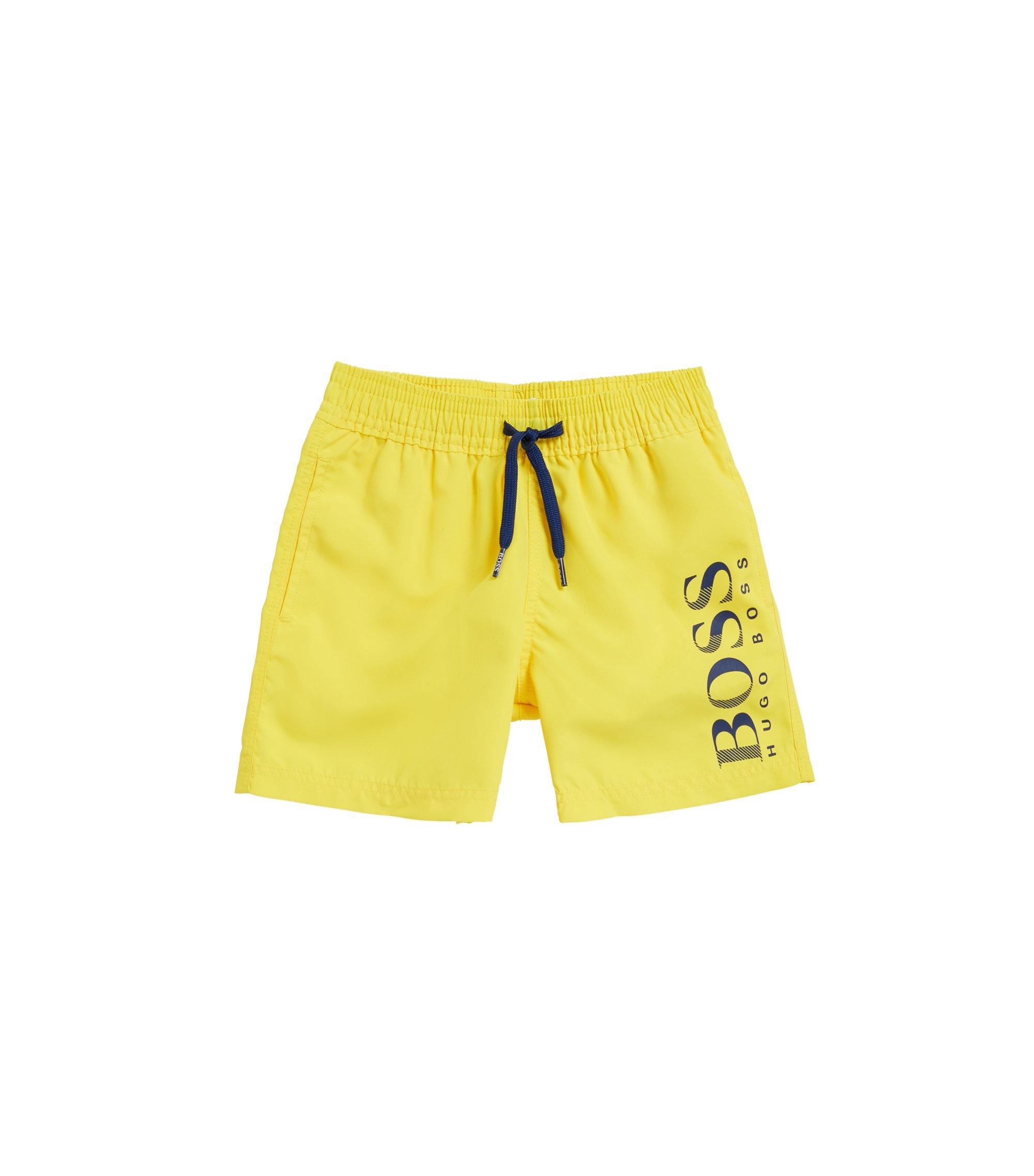 Kids' quick-dry swim shorts with logo print, Yellow