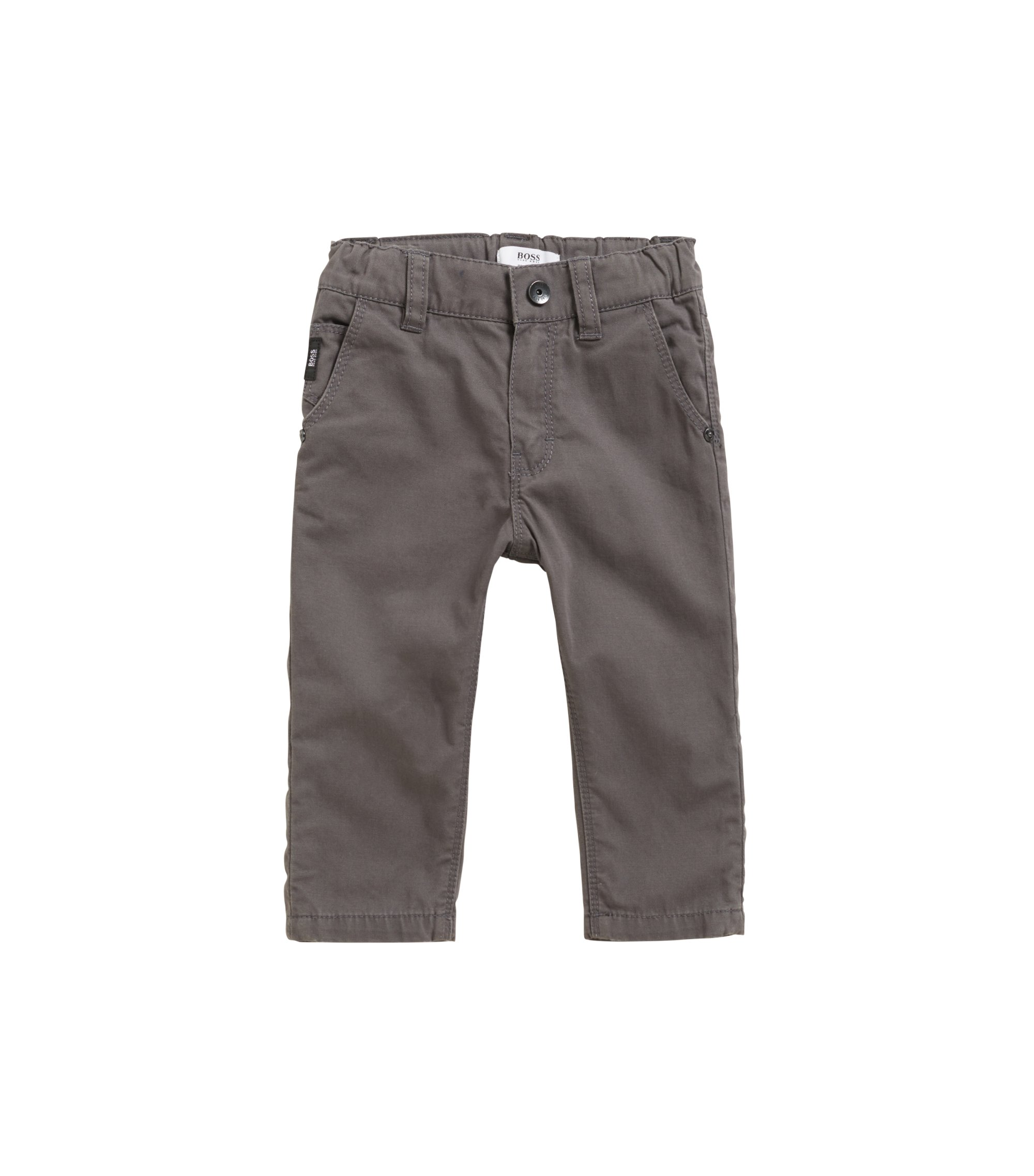 Kids' regular-fit cotton trousers with turn-up detail, Anthracite