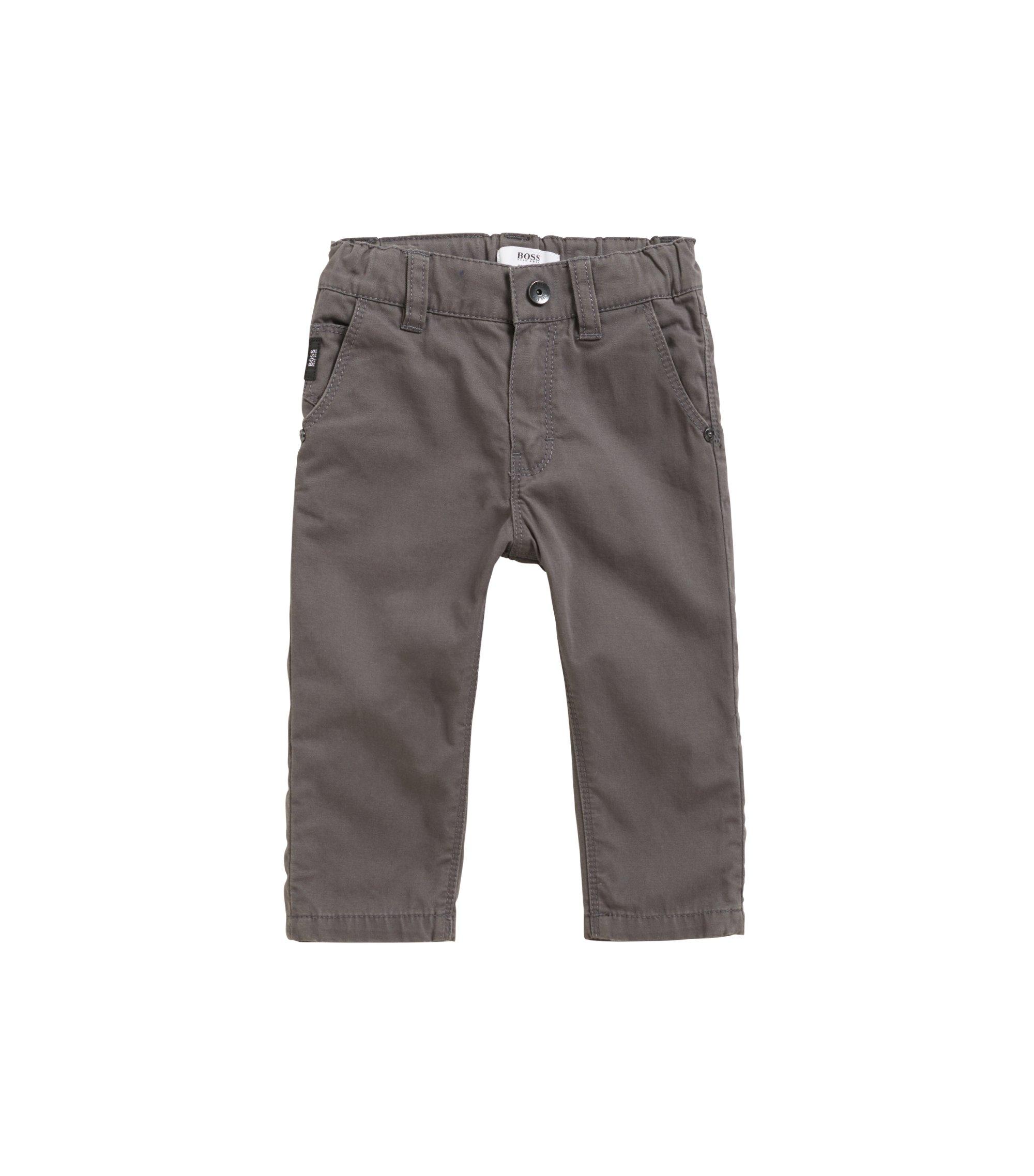 Regular-Fit Kids-Hose aus Baumwolle mit Umschlag, Anthrazit