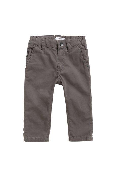 Pantaloni da bambino regular fit in cotone con risvolto, Grigio antracite