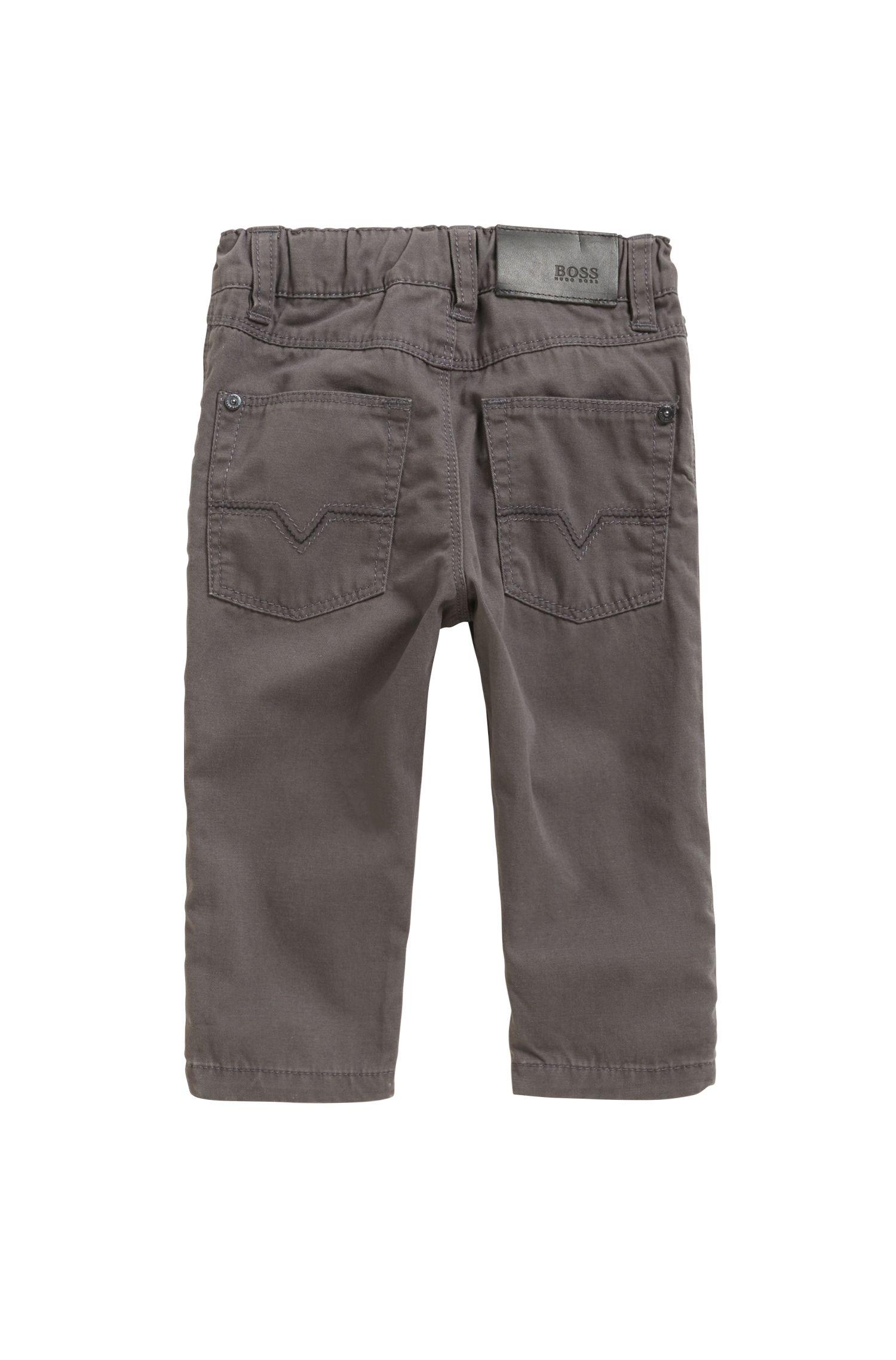 Pantalones de algodón regular fit para niños con detalle vuelto, Gris marengo