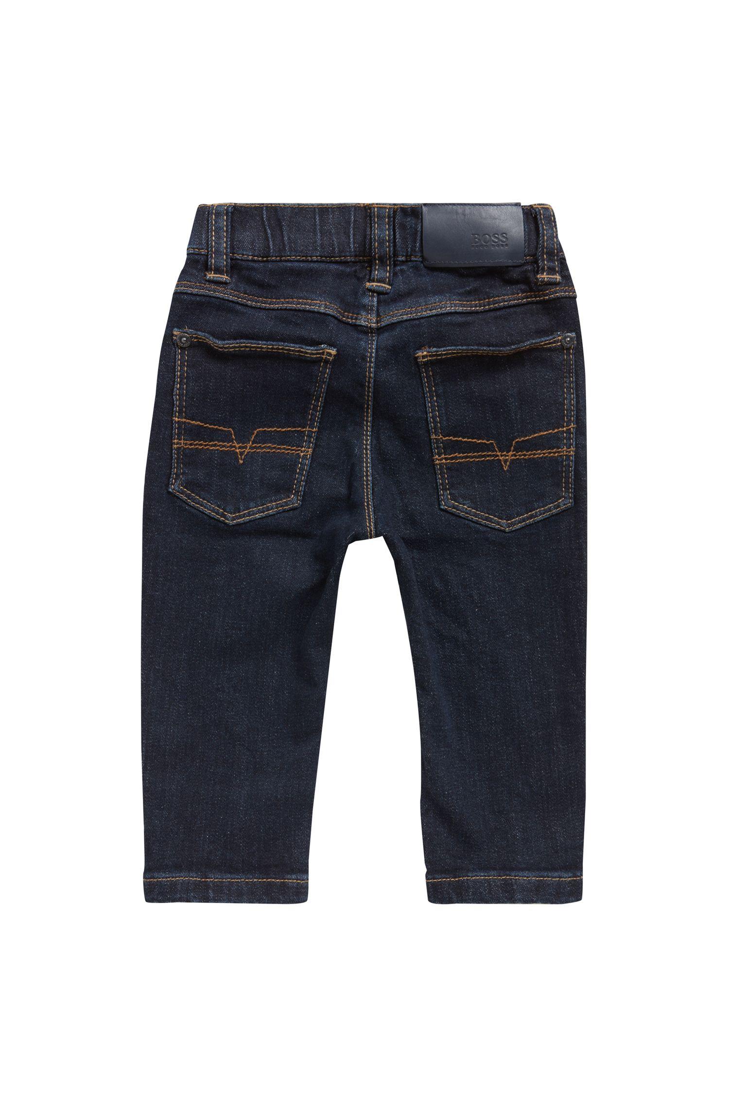 Regular-Fit Kids-Jeans aus Stretch-Denim mit Komfortbund, Gemustert