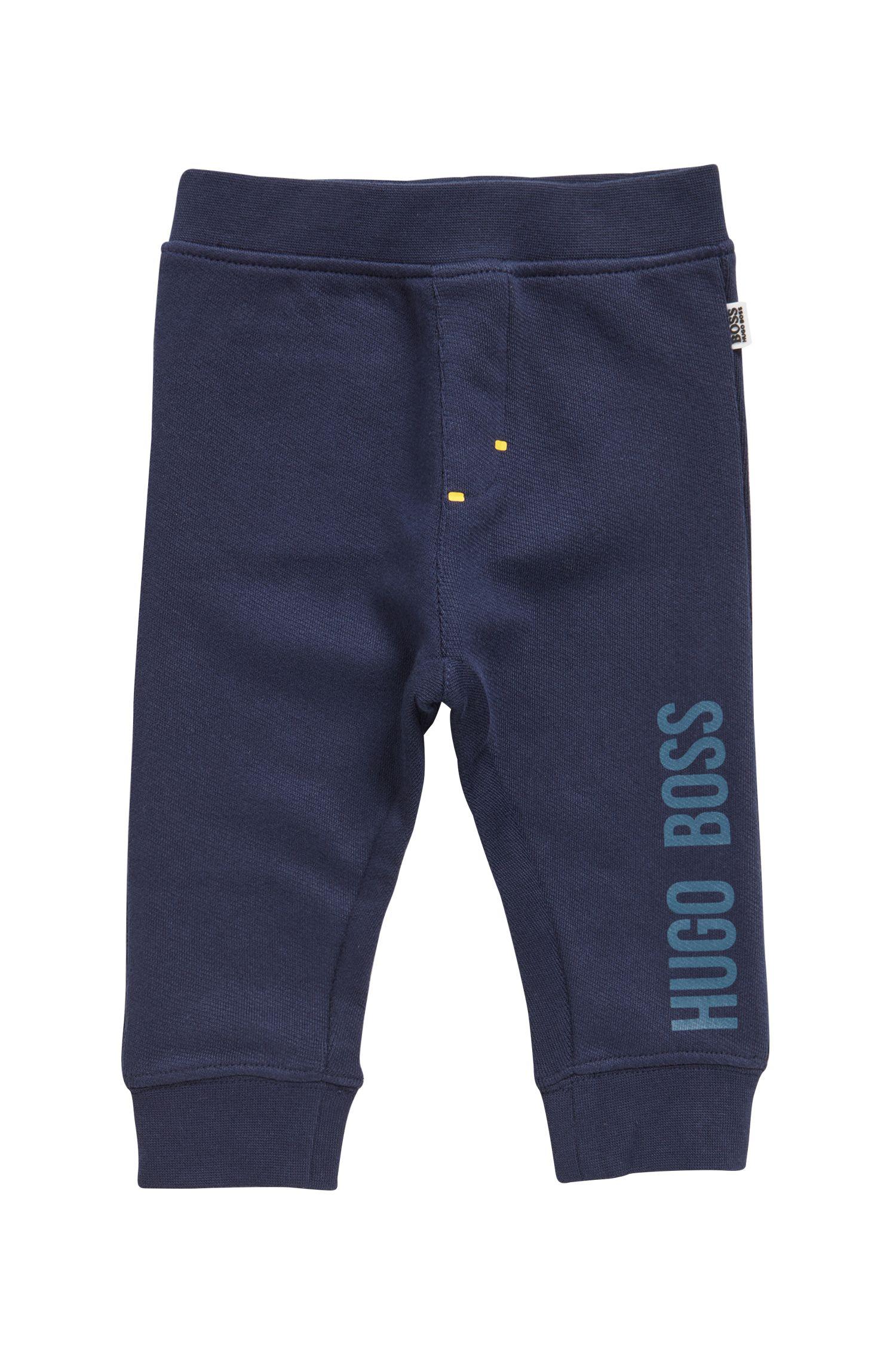 Pantalon d'intérieur pour enfant en molleton de coton avec logo, Bleu foncé