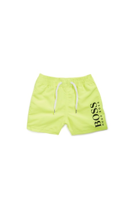 Kids' swim shorts in quick-drying technical fabric, Yellow