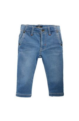 Jean pour enfant en maille de denim stretch à la double finition stone-washed, Bleu