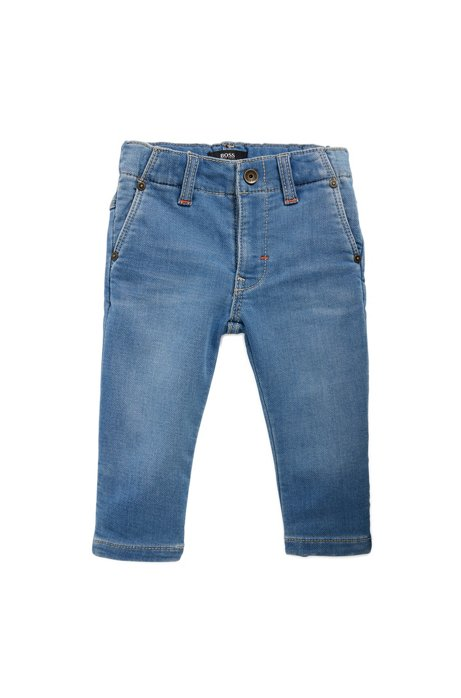 Kids' double-stonewashed jeans in knitted stretch denim, Blue