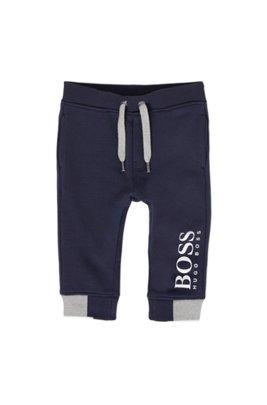 Pantalon d'intérieur pour enfant en molleton à logo imprimé, Bleu foncé