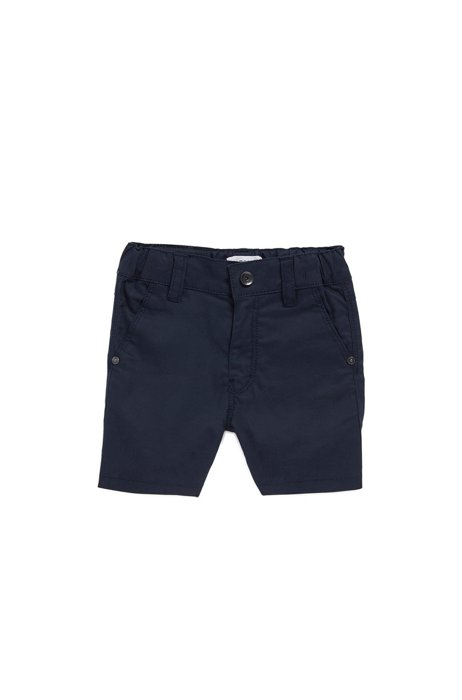 Bermuda pour enfant en coton stretch avec une étiquette logo, Bleu foncé