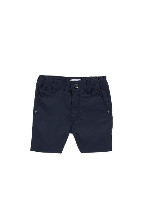 Regular-Fit Kids-Shorts aus Stretch-Baumwolle mit Logo-Fähnchen, Dunkelblau
