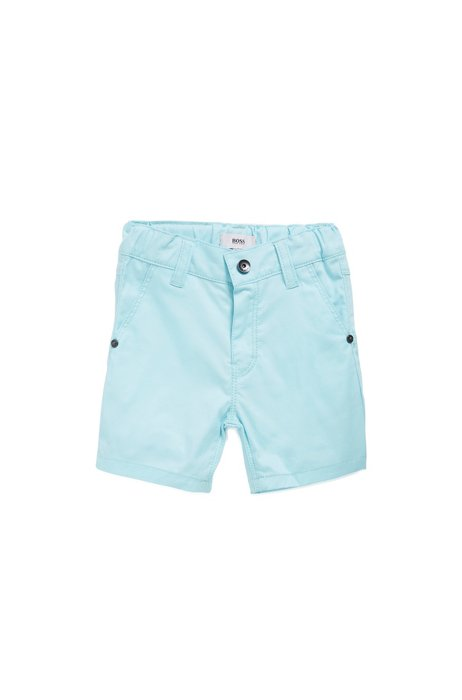 Bermuda pour enfant en coton stretch avec une étiquette logo, Bleu vif