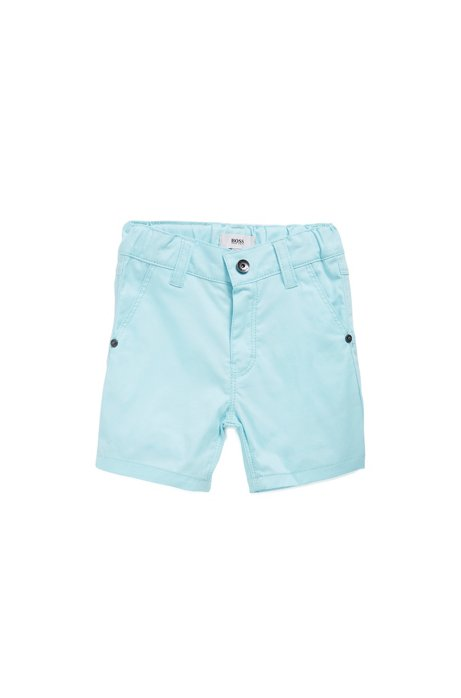 Kids' Bermuda shorts in stretch cotton with logo flag, Light Blue