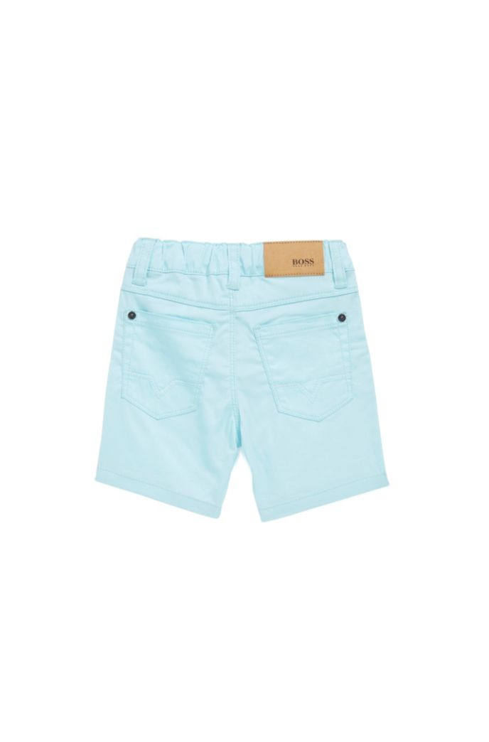 Regular-Fit Kids-Shorts aus Stretch-Baumwolle mit Logo-Fähnchen