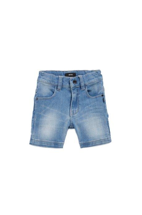 Regular-Fit Kids-Shorts aus Denim mit Logo-Print am Umschlagbündchen, Blau