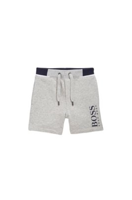 Kids-Shorts aus French Terry mit Logo-Print, Hellgrau