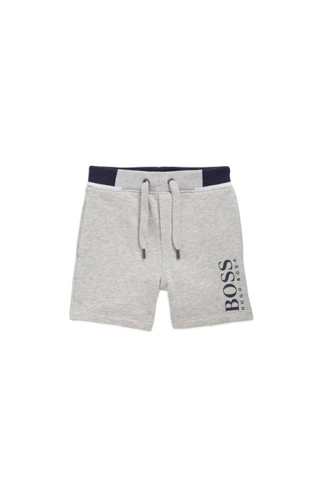 Kids' loungewear shorts in French terry with logo print, Light Grey