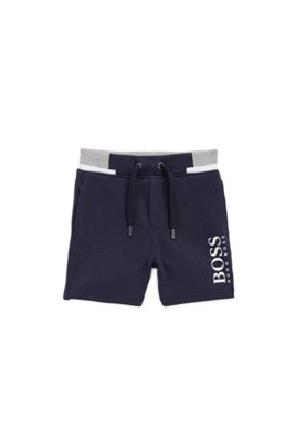 Kids-Shorts aus French Terry mit Logo-Print, Dunkelblau