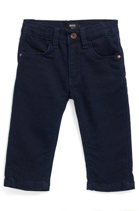 Jean pour enfant en tissu stretch, avec taille ajustable, Bleu foncé