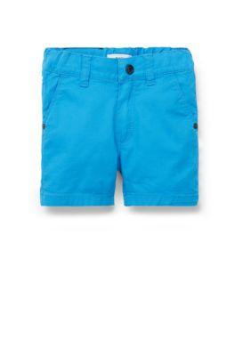 Regular-Fit Kids-Shorts aus elastischem Baumwoll-Twill, Blau