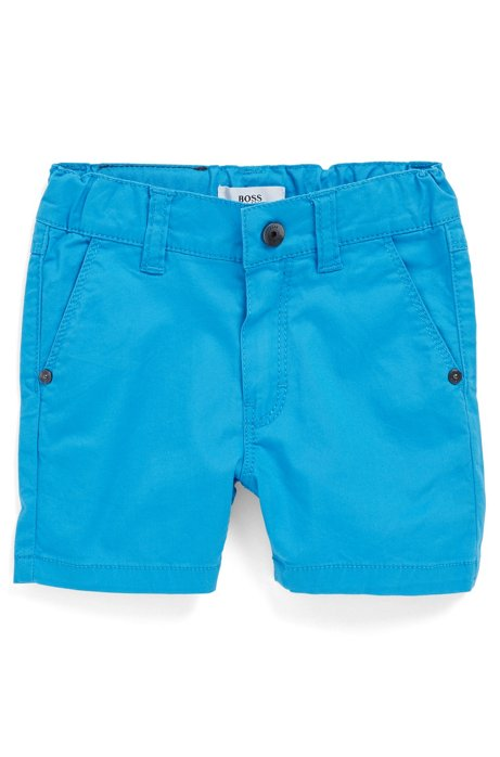 Regular-Fit Kids-Shorts aus elastischem Baumwoll-Twill, Blau