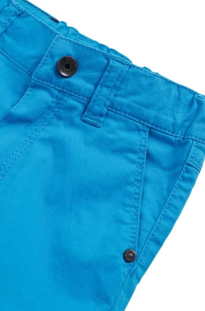 Regular-Fit Kids-Shorts aus elastischem Baumwoll-Twill