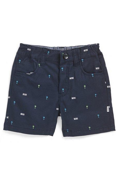 Short pour enfant à motif palmier et logos, Bleu foncé