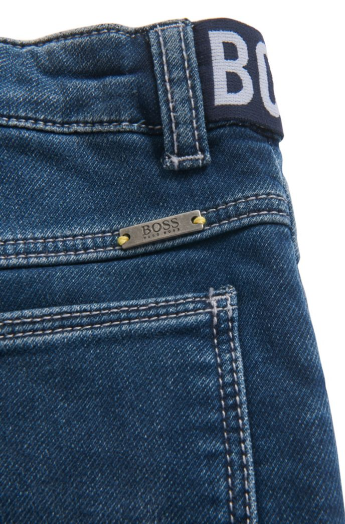Jean pour enfant en maille de denim stretch avec empiècements logo