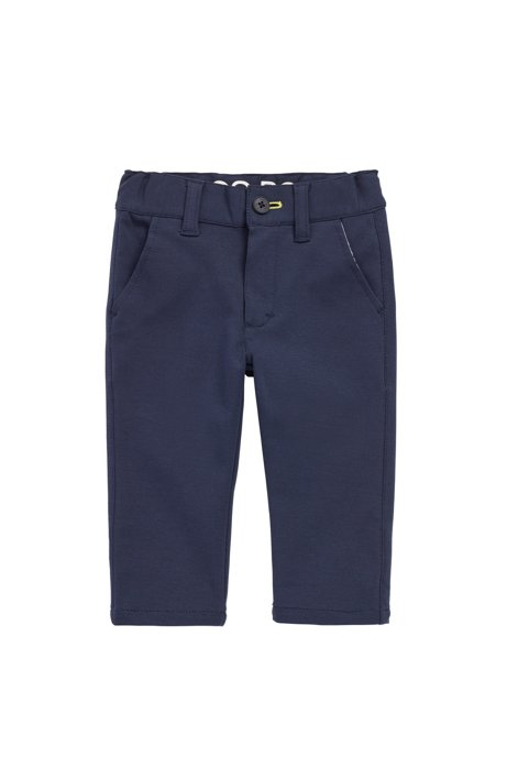 Pantalon Slim Fit pour enfant en coton stretch mélangé, Bleu foncé