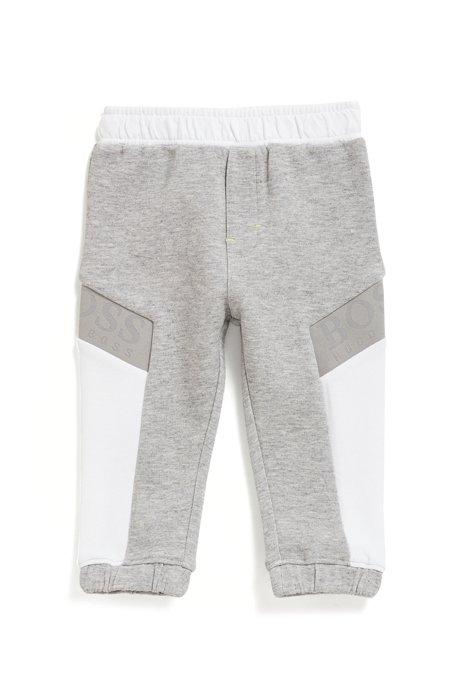 Pantalon d'intérieur en coton mélangé avec logos pour enfant, Gris chiné