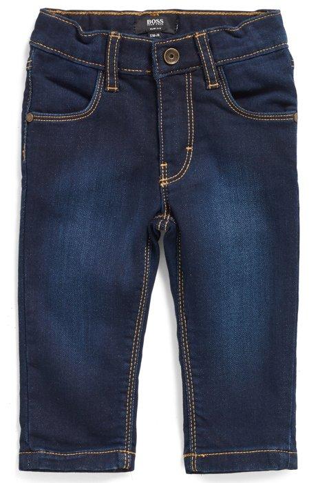 Jeans da bambino in denim lavorato a maglia con logo sulla tasca posteriore, A disegni