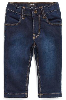 Kids' jeans in knitted denim with back-pocket logo, Patterned