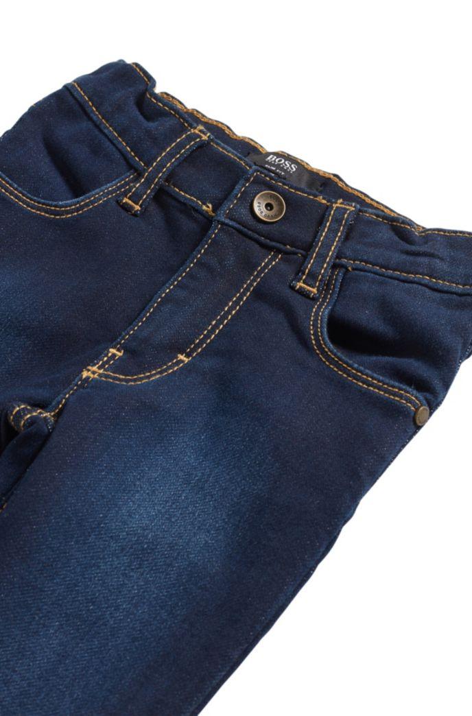 Kids' jeans in knitted denim with back-pocket logo