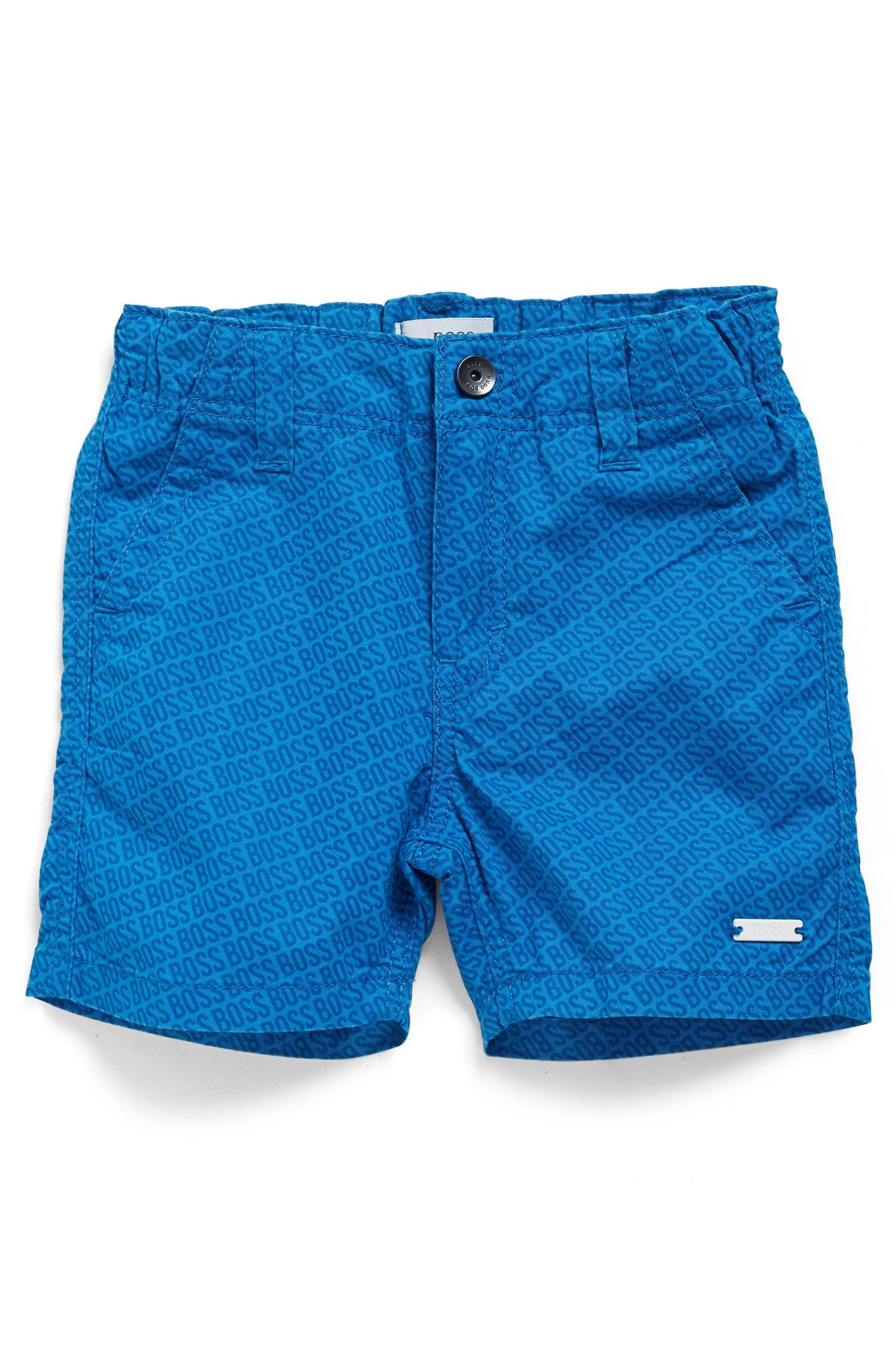 Kids' regular-fit shorts with all-over logo print, Blue