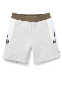 Kids' cotton-blend shorts with logo-tape detailing, Light Grey