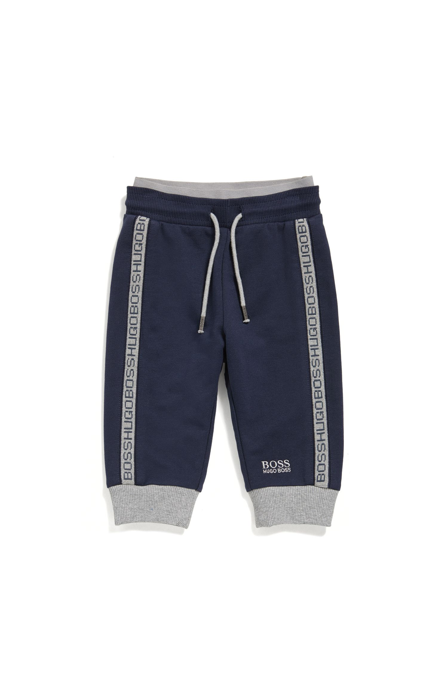 Newborn tracksuit bottoms in stretch cotton with a drawstring waistband: 'J04P00'