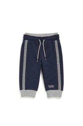 Newborn tracksuit bottoms in stretch cotton with a drawstring waistband: 'J04P00', Dark Blue