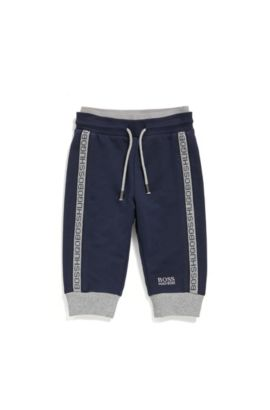 Newborn tracksuit bottoms in stretch cotton with a drawstring waistband: 'J04P00', Dark Blue