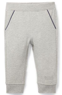 Pantalon de jogging pour enfant en molleton, avec logo imprimé en relief, Gris chiné