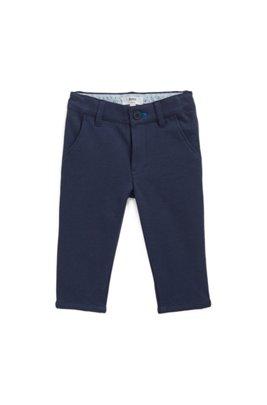 Pantalon pour enfant en jersey Milano avec logo brodé, Bleu foncé