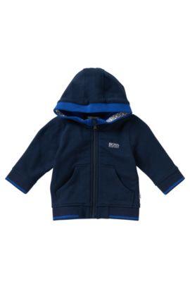 Blouson sweat-shirt à capuche pour enfant en coton mélangé: «J05410», Bleu foncé