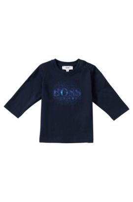 T-shirt manches longues pour enfant en coton: «J143163», Bleu foncé