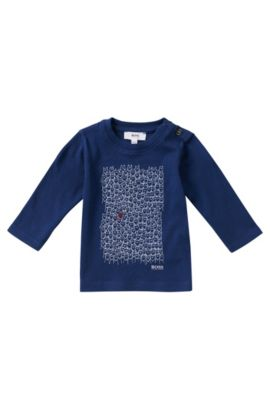 T-shirt manches longues pour enfant en coton: «J05423», Bleu foncé